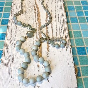 BLUE BEADED WITH MARBLE BEAD CHARM NECKLACE